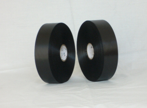 Double sided black barcode polyester satin ribbon